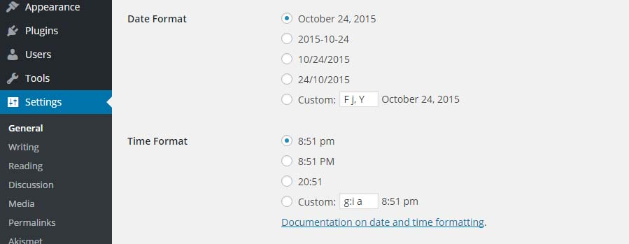 Wordpress time and date format